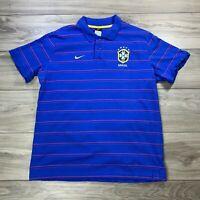 Nike Men's CBF Brazil Blue Striped Soccer Football Polo Shirt Cotton Size XXL