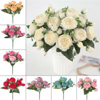 9Heads Artificial Fake Silk Flower Peony Bouquet Home Wedding Garden Party Decor