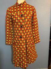 Vintage dress orange black S see measurements
