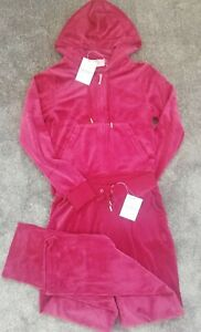 Juicy Couture Tracksuit Set*Beet Red Veloul  (Joggers + Hoodies) Sz: M * BNWT *