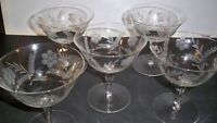 5 CRYSTAL GOBLETS CUT FLORAL AND STEM DESIGN 4 5/8'' TALL