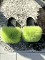 Lime Green Real Fur Fox Fur Slides Beach Slippers Sandals Shoes Sliders