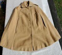 Vintage Pendelton Beige Tan Virgin Wool  Batwing Cape Poncho Coat Womens S-M