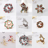 New Xmas Snowman Santa Tree Bells Brooch Deer Pin Christmas Gifts JewelryWM