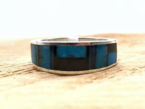 Native American Jewelry Turquoise Inlay Ring Handmade Sterling Silver .925