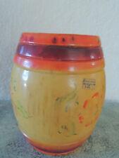 "Russian vintage  Hand Painted Wooden  Barrel 6 "" top do not open 1950-"