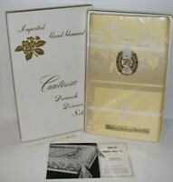 "Vintage Imported Hand Hemmed Contessa Damask Dinner Set (64""x84"") NEW"