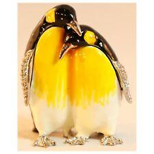 Bejeweled Enameled Animal Trinket Box/Figurine With Rhinestones-Couple Penguin