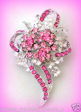 PRETTY PINK RHINESTONE FLOWER BROOCH PIN VALENTINES DAY GIFT FOR HER WOMEN MOM