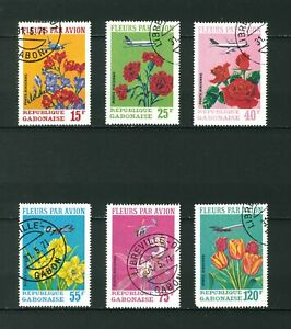 Gabon 1971 Flowers by Air full set of stamps. Used. Sg 410-415.