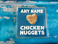 I love Chicken Nuggets Blue Personalised Coaster  - Drink Coaster - Tableware
