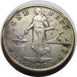 elf Philippines USA 1 Peso 1907 S  Silver  San Francisco Mint