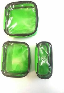 Set 3 Green Dura Wipe Down Clear Lid Velcro Pouches for First Aid Paramedic Bags