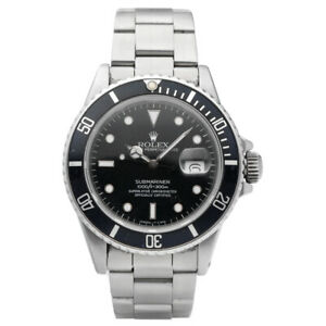 Rolex Submariner 168000 Black Dial Stainless Steel Automatic Men's Watch 1987