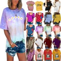 AU Ladies Summer Floral Loose T-Shirt Blouse Holiday Beach Travel Tops Basic Tee