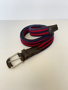 Vintage MJ Bale 80s style red & navy blue striped fabric and leather belt 127cm