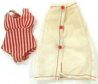 Barbie Vintage Fitting White Tricot Skirt Red White Body Shirt/Swimsuit Clone
