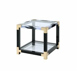 """25"""" X 24"""" X 25"""" White Brushed Gold And Clear Glass  End Table"""