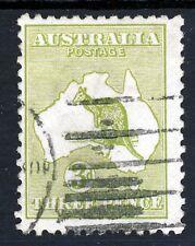 Australia 1915-27 'Roo 3d. Verde Oliva Die I Wmk Tipo 6 Perf 12 SG 37b VFU