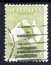 AUSTRALIA 1915-27 'Roo 3d. Olive-Green Die I Wmk Type 6 Perf 12 SG 37b VFU