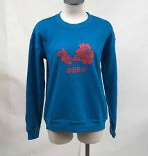 Obey Women's Crew Sweatshirt Obey Flower French Blue Size S NWT Shepard Fairey