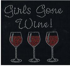 Wine Rhinestone iron on Bling Transfer DIY Hot fix Applique Girls gone wine