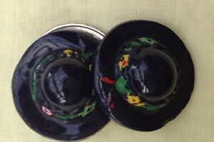 PAIR (2) VINTAGE HAND PAINTED CERAMIC SHANK BUTTONS SHAPED AS LADIES HAT