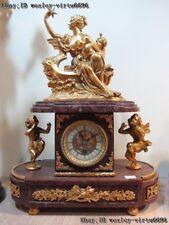 Baroque Art Decor Copper Brass Gilt Marble Base Angel Goddess Mechanical Clock