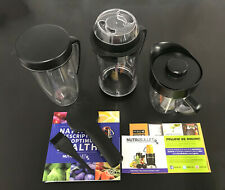 NutriBullet RX 1700W 45oz Acessories Only Recipe Book Jars Brush Tops Used