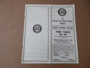 1939 Colorado and Southern Railway Employee Timetable 49 Denver Terminal Div C&S