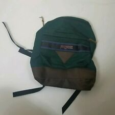 Vintage JanSport Leather Bottom Backpack Triangle Green Purple