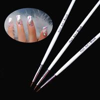 3pc Tiny UV Gel Acrylic Nail Art Liner Detailed Drawing Pen Brush Painting Tool