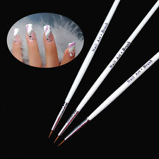 3pc Tiny UV Gel Acrylic Nail Art Liner Detailed Drawing Pen Brush Painting Tool