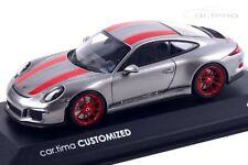 1:43 MINICHAMPS 2016 PORSCHE 911 991 R Silver Red car.tima CUSTOMIZED LE 11 pcs.
