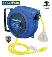 GOODYEAR Heavy Duty Extension Cord Reel with 40 ft.,14AWG SJTOW, Triple Tap Cord