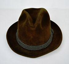Selfridges London Brown Green Braided Cord Fur Felt Fedora Hat 6 3/4 Mens
