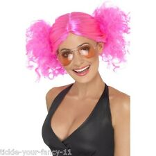 Women's Cute 80's Pink Bunches Wig Hen Crazy Fun Fancy Dress Punk Rock Pop Star