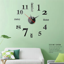 Wall Clock Watch Large Modern DIY Sticker Decal Simple 3D Roman Numeral Home Set