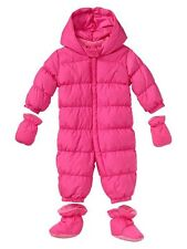 GAP Baby Girl 0-6 Months NWT Warmest Puffer Snowsuit / Jacket / Coat - Pink