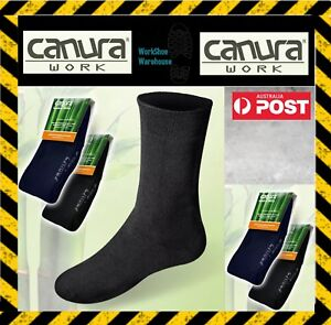 6 PAIR CANURA Men's Black Or Blue BAMBOO SOCKS NO SMELL PERFECT FOR SAFETY BOOTS