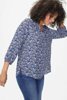 NYDJ Womens Size XS Pintuck Blouse Tearose Blue Floral Top 3/4 Sleeve $89 487