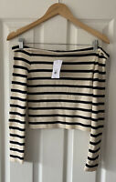 TOPSHOP CREAM NAVY BLUE STRIPED BARDOT T-SHIRT TOP UK 10 NEW