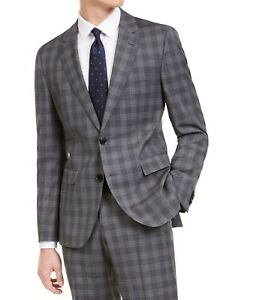 Hugo Boss Men's Suit Separate Jacket Gray Size 40 Wool Plaid Slim Fit $445 #264