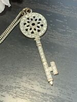 "Vintage Clear Crystal Key Pendant Necklace Extra Long 36"" Chain"