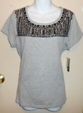 A.N.A Ladies Bling Gemstone & Beads Short Sleeve Top Lt Heather Gray Large (L)