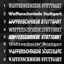 """AUFKLEBER Scheibenaufkleber """"WAFFENSCHMIEDE STUTTGART"""" 90cm"""