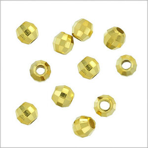20x 18kt Gold Over Sterling Silver Round Disco Faceted Spacer Beads 3mm #97184