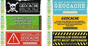 6-12-18-24 Stück Geocache Hinweis Aufkleber Hinweisschilder Cachen Versteck NEU
