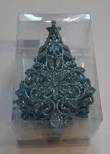 3 TURQUOISE GLITTER CHRISTMAS TREES SHATTER RESISTA HOLIDAY ORNAMENTS DECORATION