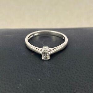 DIAMOND 0.25ct Emerald Cut - H Vs - Solitaire Platinum Engagement Ring Baguette